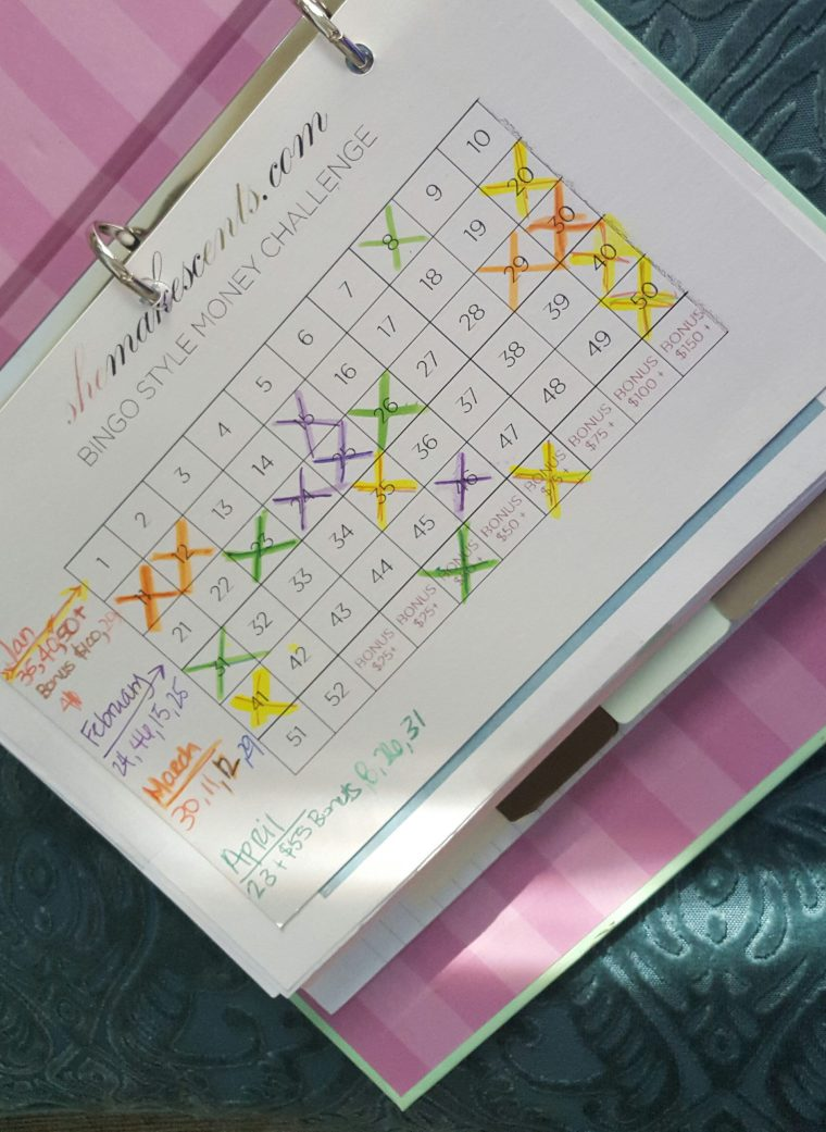 Bingo Money Sheet- Progress Pic